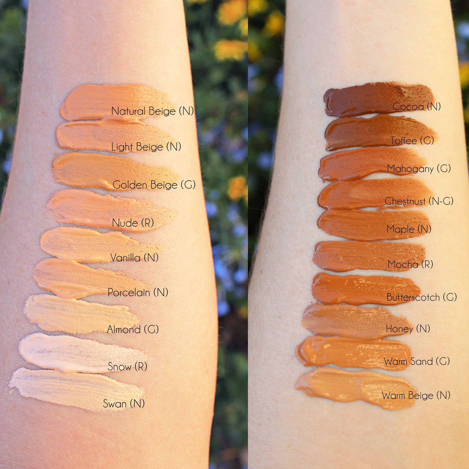 Too Faced Dew You dewy full coverage foundation swatches
