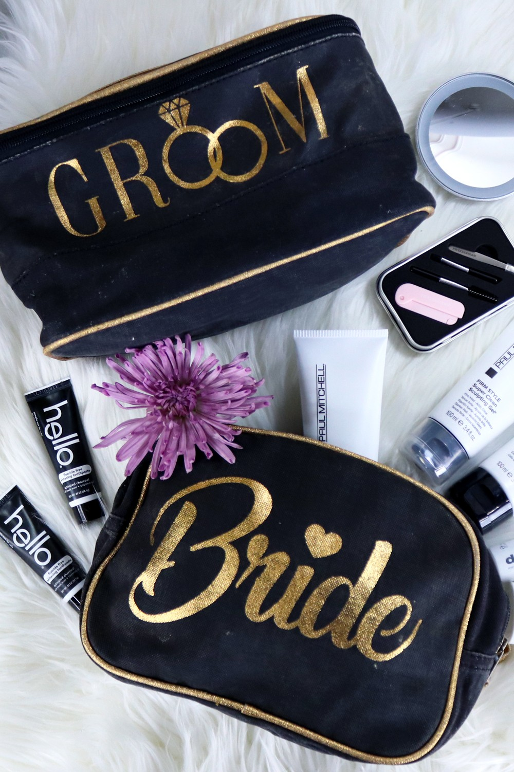 Bride and Groom Makeup Cosmetic Toiletry Bags