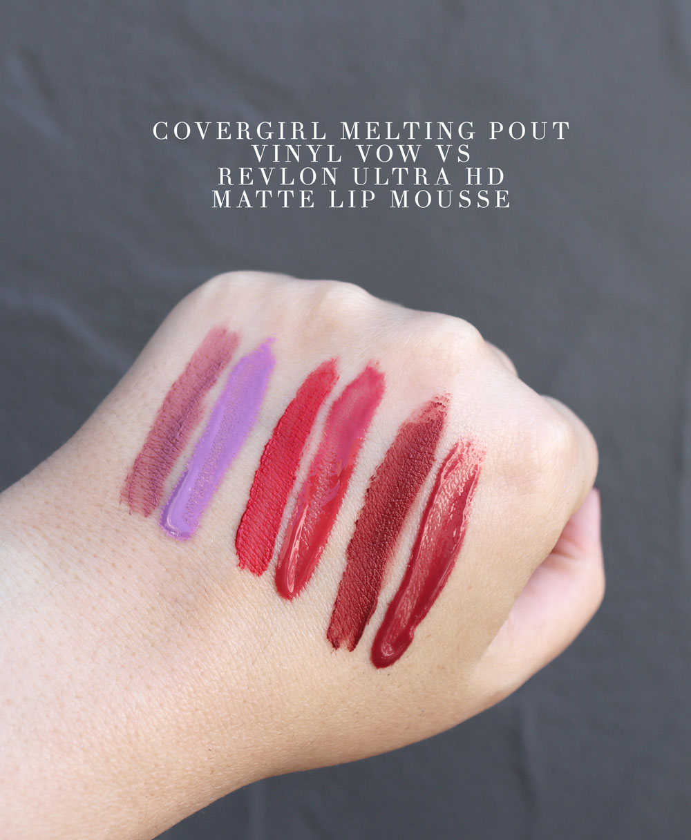 Cruelty free Covergirl dupe swatches for Revlon lipstick