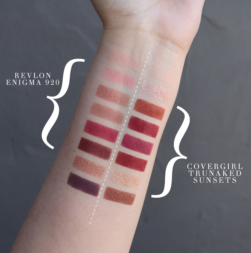Cruelty free Covergirl dupe for Revlon eyeshadow palette swatches