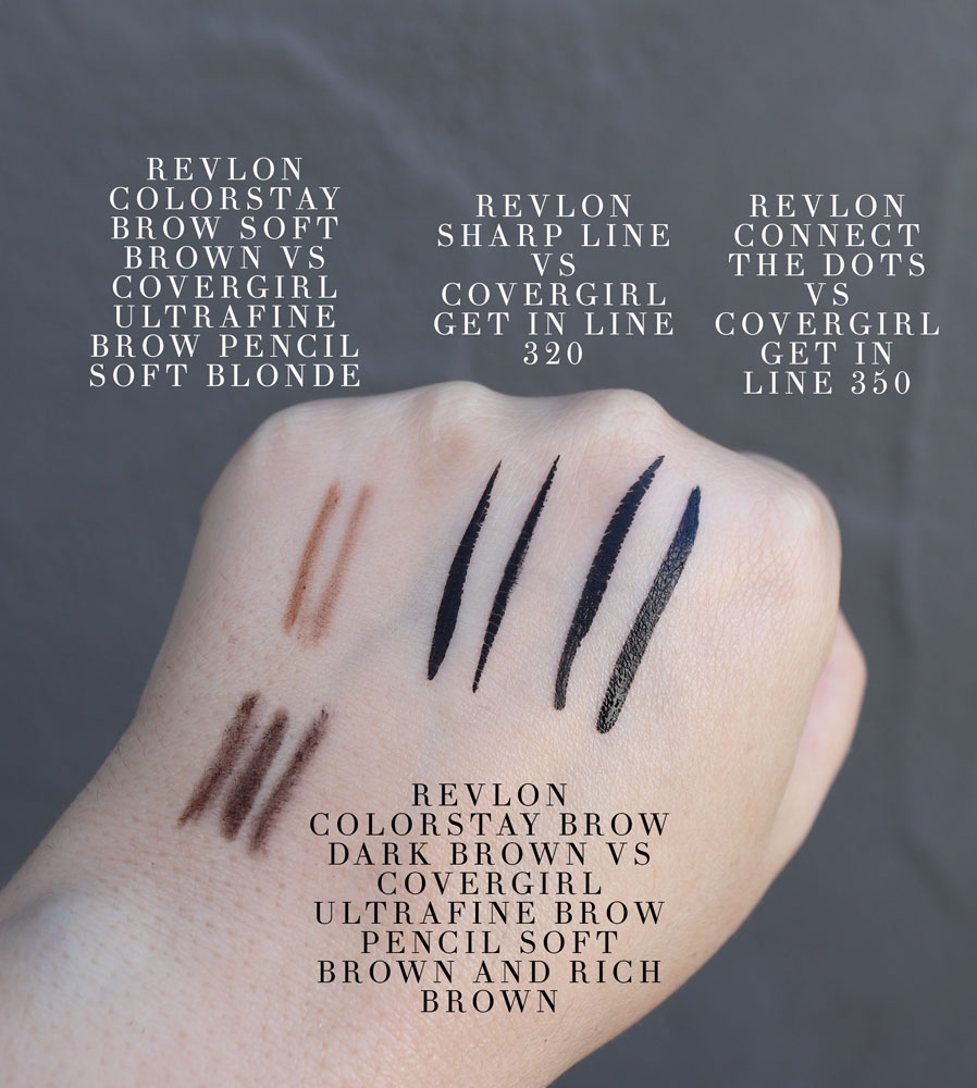 Cruelty free Covergirl dupes for Revlon brow pencils and liquid liner