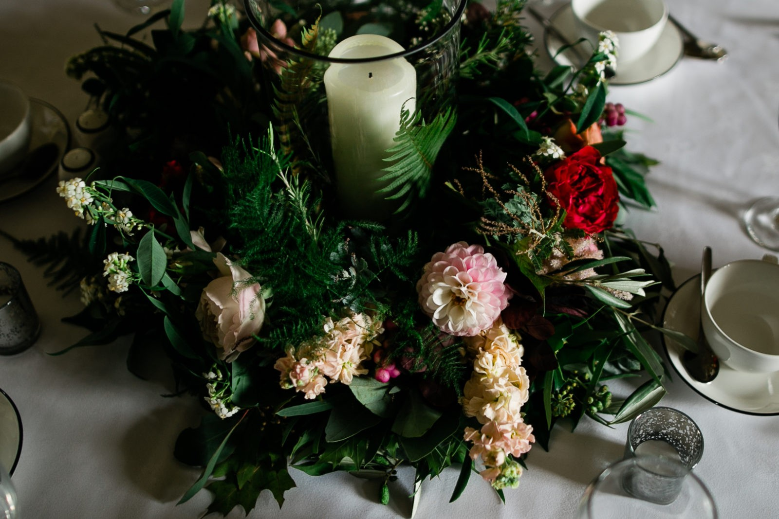 Narcissus Flowers - Wild and Beautiful - Burgundy Red Pink and Green Wedding Decor at My Beauty Bunny's Scotland Wedding
