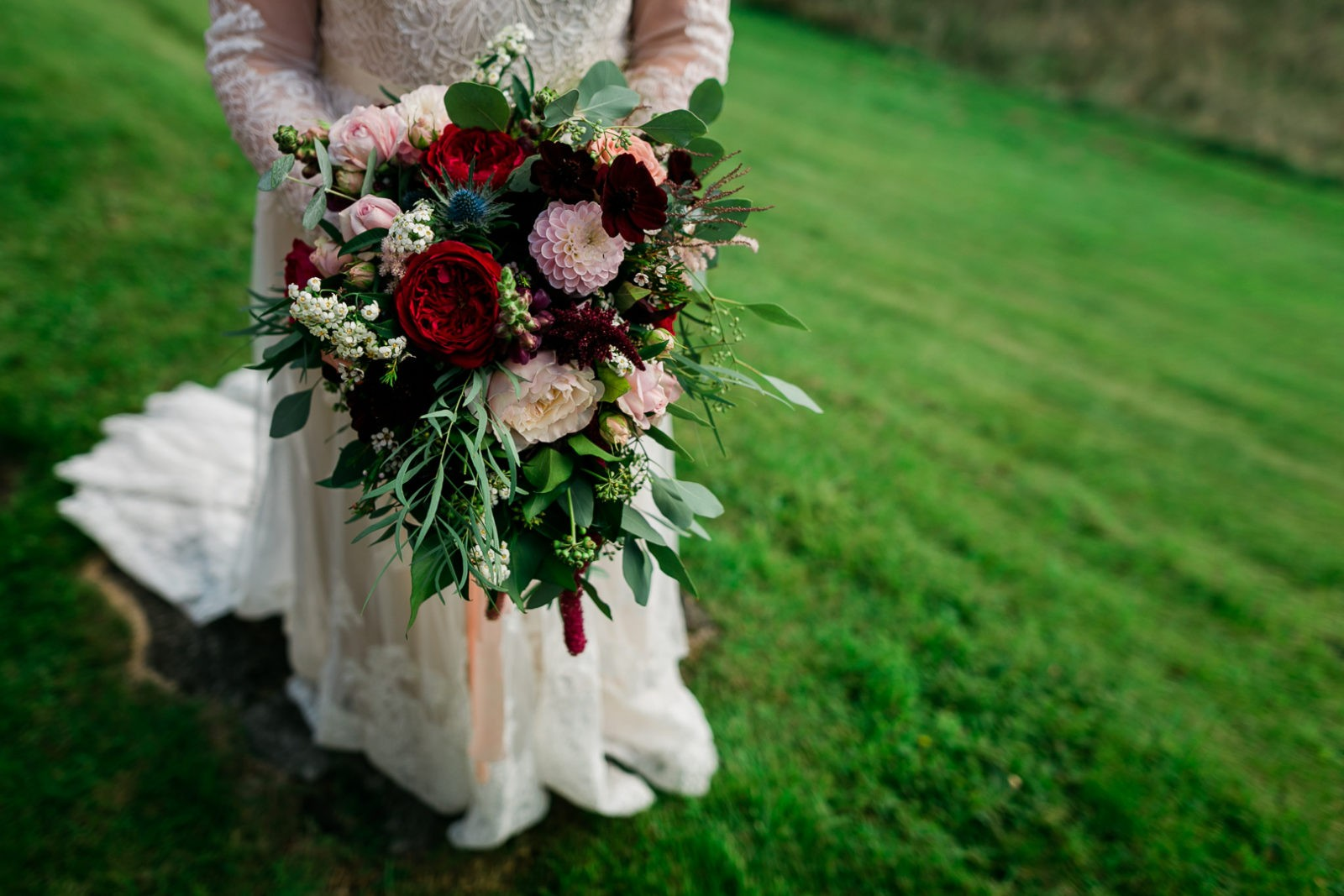 Wild and Beautiful - Burgundy Red Pink and Green Wedding Bouquet at My Beauty Bunny's Scotland Wedding