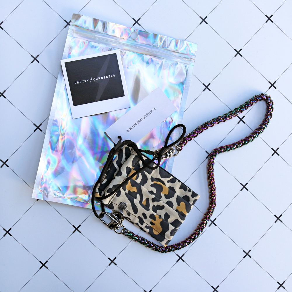 Pretty Connected mermaid mask chain and Simple Satch leopard print mask giveaway
